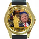 Donald Trump-Trump Tower Unisex Round Gold Metal Watch-Leather Band