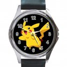 Cute Pikachu Unisex Round Metal Watch-Leather Band