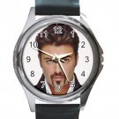 George Michael Late Pop Singer Unisex Round Metal Watch-Leather Band