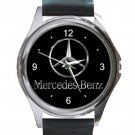 Mercedes Logo Unisex Round Metal Watch-Leather Band