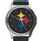 Pro Football Pittsburgh Steelers Unisex Round Metal Watch-Leather Band