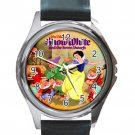 Snow White & The Seven Dwarfsl Unisex Round Metal Watch-Leather Band