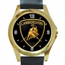 Lamborghini Automobile Car Logo Unisex Round Gold Metal Watch-Leather Band
