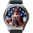 John Wayne & American Flag Unisex Round Metal Watch-Leather Band