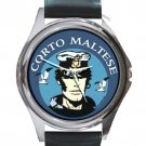 Comic Character Corto Maltese Unisex Round Metal Watch-Leather Band