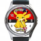 Pokemon Pikachu Pokeball Background Unisex Round Metal Watch-Leather Band