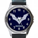 Batman Hero Logo Unisex Round Metal Watch-Leather Band