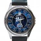 Dr Who Tardis Clock Gallifrey Symbols Unisex Round Metal Watch-Leather Band