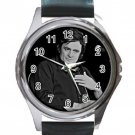 Johnny Cash Unisex Round Metal Watch-Leather Band