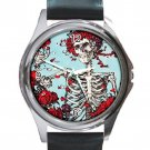 Grateful Dead With Red Roses Unisex Round Metal Watch-Leather Band