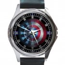 Iron Man Arc Reactor & Captain America Shield Unisex Round Metal Watch-Leather Band