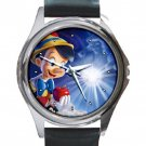 Pinocchio & Shinning Star Unisex Round Metal Watch-Leather Band