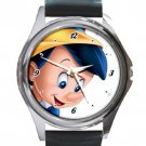Smiling Pinocchio Unisex Round Metal Watch-Leather Band