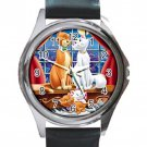 The Aristocats Cartoon Unisex Round Metal Watch-Leather Band