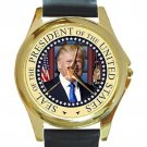 President Seal-Donald J Trump Unisex Round Gold Metal Watch-Leather Band