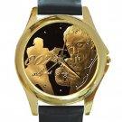 James Bond 007 Unisex Round Gold Metal Watch-Leather Band