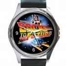 Back to the Future Movie Unisex Round Metal Watch-Leather Band