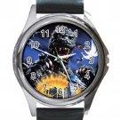 Rare Godzilla Unisex Round Silver Metal Watch-Leather Band
