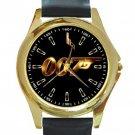 James Bond Gold Logo Unisex Round Gold Metal Watch-Leather Band