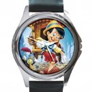 Happy Pinocchio Unisex Round Silver Metal Watch-Leather Band