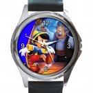 Pinocchio & Geppetto Unisex Round Silver Metal Watch-Leather Band