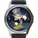 Great Looking Pinocchio Cricket Unisex Round Silver Metal Watch-Leather Band