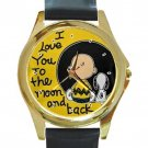 Snoopy & Charlie Brown Love You To The Moon Unisex Round Gold Metal Watch-Leather Band