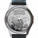 Pokemon Squirtle Unisex Round Silver Metal Watch-Leather Band