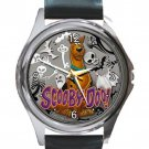 Scooby-Doo Halloween Unisex Round Silver Metal Watch-Leather Band
