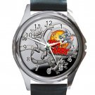 Tom & Jerry Cartoon Unisex Round Silver Metal Watch-Leather Band
