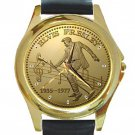 Elvis Presley 1935-1977 Unisex Round Gold Metal Watch-Leather Band