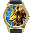 Pokemon Zoroark Unisex Round Gold Metal Watch-Leather Band