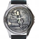 Snoopy & Charlie 5 Cents Coin Unisex Round Silver Metal Watch-Leather Band