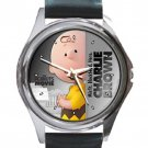 Charlie Brown Peanuts Movie Unisex Round Silver Metal Watch-Leather Band