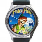 Peter Pan Unisex Round Silver Metal Watch-Leather Band