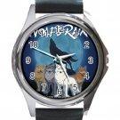 Wolf Rain Unisex Round Silver Metal Watch-Leather Band