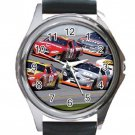 Nascar Unisex Round Silver Metal Watch-Leather Band