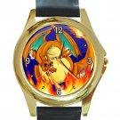 Pokemon Dragon Unisex Round Gold Metal Watch-Leather Band