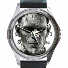 Frankentein Unisex Round Silver Metal Watch-Leather Band