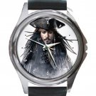 Jack Sparrow/ Johnny Depp Unisex Round Silver Metal Watch-Leather Band