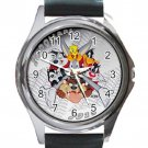 Looney Tunes All Cartoon Characters Unisex Round Silver Metal Watch-Leather Band