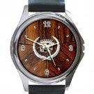 Nice Cadillac Logo With Photo Wood Background Unisex Round Silver Metal Watch-Leather Band