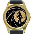 James Bond 007 With Bond Girl Unisex Round Gold Metal Watch-Leather Band