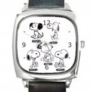 Snoopy Throughout The Years Square Metal Watch With Leather Band
