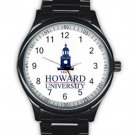 Howard University Logo Unisex Black Stainless Steel Round Watch