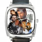 Remembering George Michael Square Metal Watch With Leather Band