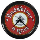 "Budweiser Black Plastic Frame 10"" Wall Clock"