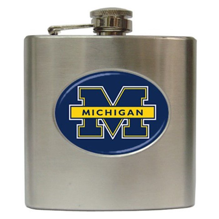University of Michigan! GO BLUE! 6 oz Stainless Steel Hip Flask