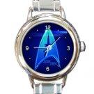 Shiny Blue Star Trek Ladies Round Italian Charm Watch