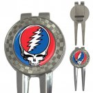 Grateful Dead Steal Your Face High Quality Metal Chrome 3-in-1 Golf Divot